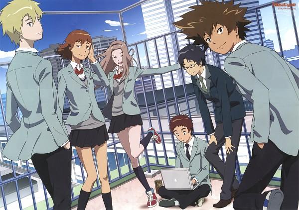 Tags: Anime, Toei Animation, Digimon Adventure, Tachikawa Mimi, Izumi Koushirou, Takenouchi Sora, Yagami Taichi, Kido Jyou, Ishida Yamato, Official Art, Magazine (Source), Scan, Newtype Magazine (Source)