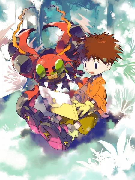 Tags: Anime, Pixiv Id 14363285, Digimon Adventure, Izumi Koushirou, Tentomon, Mobile Wallpaper, Pixiv, Fanart From Pixiv, PNG Conversion, Fanart