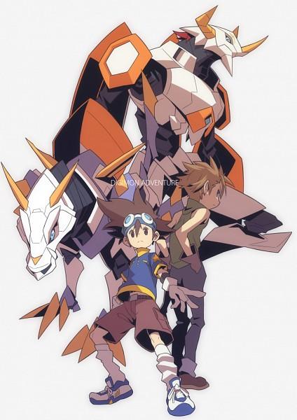 Tags: Anime, Hajime (Hajime-ill-1st), Digimon Adventure, Yagami Taichi, Ishida Yamato, MetalGarurumon, WarGreymon, Brown Shorts, Pixiv, Fanart From Pixiv, PNG Conversion, Mobile Wallpaper, Fanart