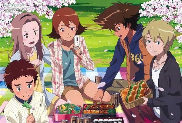 Tags: Anime, Toei Animation, Digimon Adventure, Izumi Koushirou, Takenouchi Sora, Yagami Taichi, Tachikawa Mimi, Ishida Yamato, Hanami, Fast Food, Onigiri, Picnic, Scan