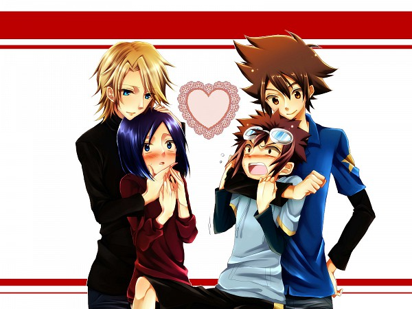 Tags: Anime, Gingerale, Digimon Adventure, Yagami Taichi, Ishida Yamato, Ichijouji Ken, Motomiya Daisuke, Fanart