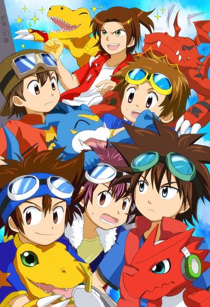 Tags: Anime, Pixiv Id 699145, Digimon Savers, Digimon Frontier, Digimon Tamers, Digimon Adventure, Digimon Xros Wars, Shoutmon, Motomiya Daisuke, Guilmon, Kanbara Takuya, Matsuda Takato, Daimon Masaru