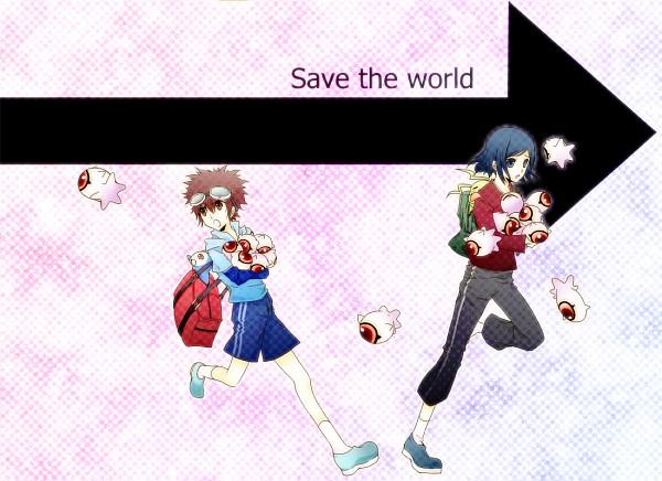Tags: Anime, Pixiv Id 1583929, Digimon Adventure, Kuramon, Motomiya Daisuke, Chibimon, Wormmon, Ichijouji Ken