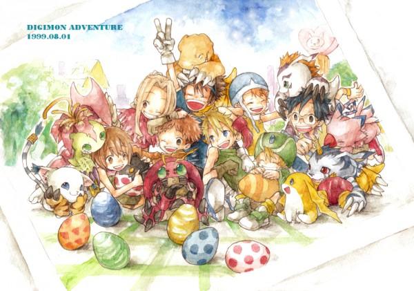 Tags: Anime, Ina Gonsora, Digimon Adventure, Tentomon, Kido Jyou, Yagami Hikari, Izumi Koushirou, Yagami Taichi, Takaishi Takeru, Gabumon, Ishida Yamato, Gomamon, Patamon