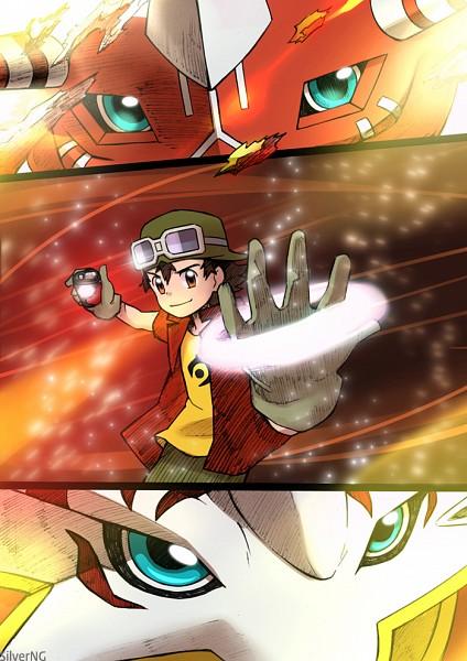 Tags: Anime, Pixiv Id 4747546, Digimon Frontier, Agunimon, Kanbara Takuya, BurningGreymon, Digivice, Digivolve, Pixiv, Comic, Mobile Wallpaper, Warriors Of Flame