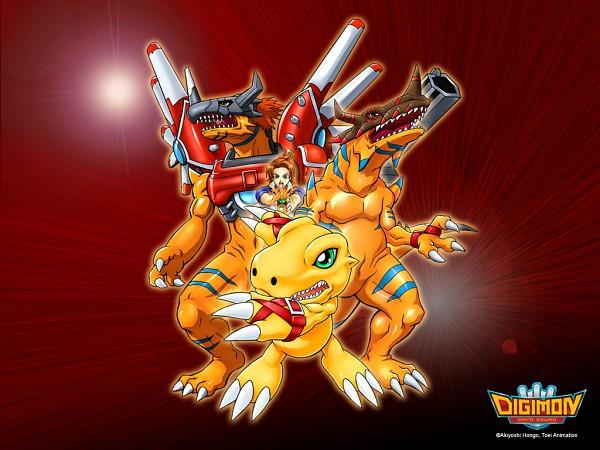 Tags: Anime, Toei Animation, Digimon Savers, Daimon Masaru, Agumon, RizeGreymon, GeoGreymon, Dinosaur, Wallpaper