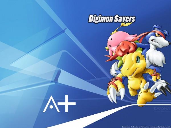 Tags: Anime, Digimon Savers, Lalamon, Gaomon, Agumon, Dinosaur, Wallpaper