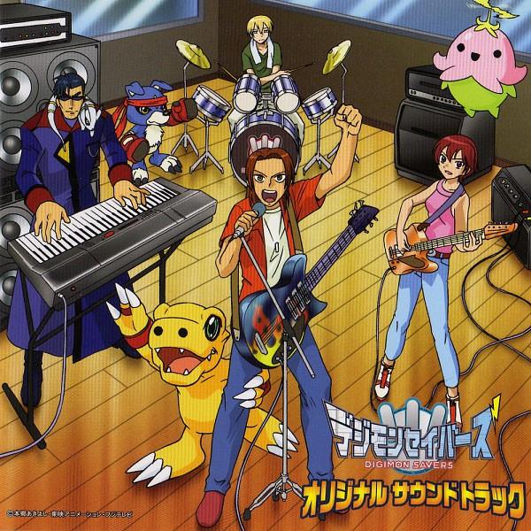 Tags: Anime, Digimon Savers, Thomas H. Norstein, Gaomon, Daimon Masaru, Fujieda Yoshino, Agumon, Lalamon, Dinosaur, Keyboard (Instrument)