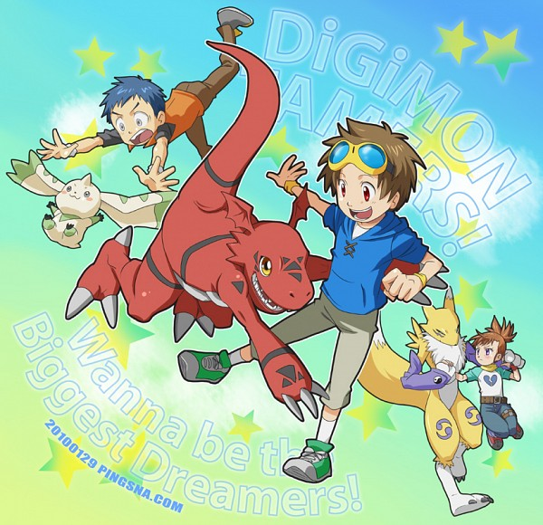Tags: Anime, Pixiv Id 131555, Digimon Tamers, Terriermon, Guilmon, Matsuda Takato, Li Jianliang, Renamon, Makino Ruki