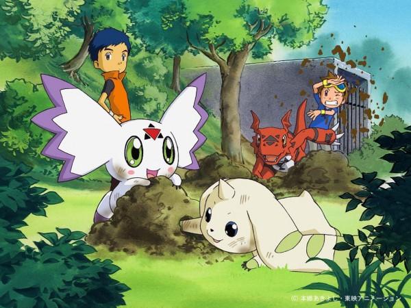 Tags: Anime, Toei Animation, Digimon Tamers, Culumon, Li Jianliang, Guilmon, Matsuda Takato, Terriermon, Dug, Dirt, Wallpaper, Official Art, Official Wallpaper