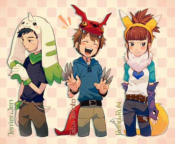 Tags: Anime, TKG, Digimon Tamers, Li Jianliang, Matsuda Takato, Makino Ruki, Terriermon (Cosplay), Renamon (Cosplay), Guilmon (Cosplay), Fanart From Pixiv, Pixiv, Fanart