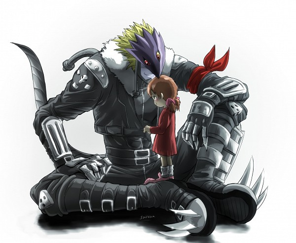 Tags: Anime, Pixiv Id 3322490, Digimon Tamers, Ai (Digimon), Beelzemon, Metal Claws, Buckle Boots, Third Eye, Pixiv, Fanart From Pixiv, Fanart