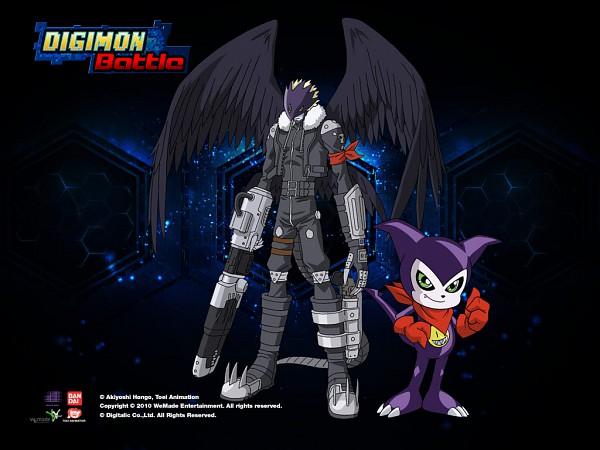 Tags: Anime, Toei Animation, Digimon Tamers, Impmon, Beelzemon, Wallpaper, Official Art