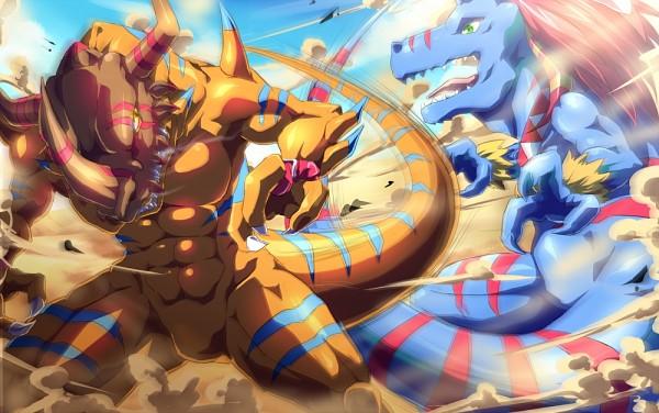 Tags: Anime, Arai Nobu, Digimon Tamers, Allomon, GeoGreymon, Dinosaur, Fanart
