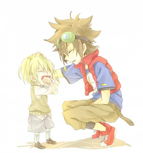Tags: Anime, Kona081, Digimon Xros Wars, Kudou Taiki, Aonuma Kiriha, Caressing, Pixiv, Digimon Fusion