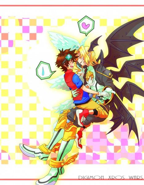 Tags: Anime, Pixiv Id 1110269, Digimon Xros Wars, Lucemon, Lucemon: Falldown Mode, Kudou Taiki, Confused, Digimon Fusion