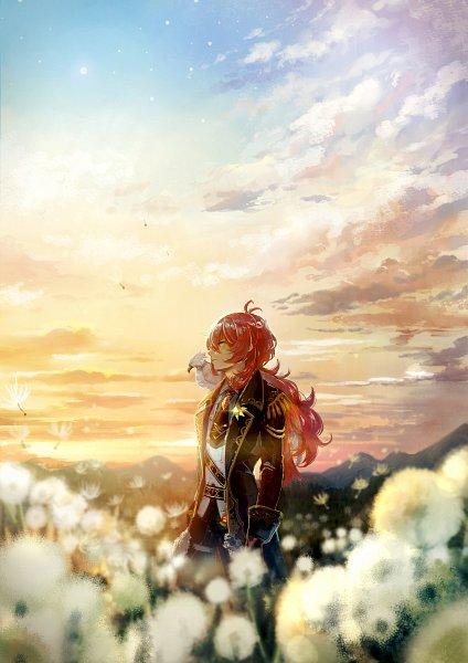 Tags: Anime, Pixiv Id 36410, Genshin Impact, Diluc, Eagle, Dandelion, Fanart, Fanart From Pixiv, Pixiv