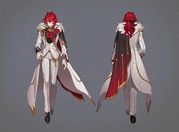Tags: Anime, Ventuspluma, Genshin Impact, Diluc, Twitter, Fanart