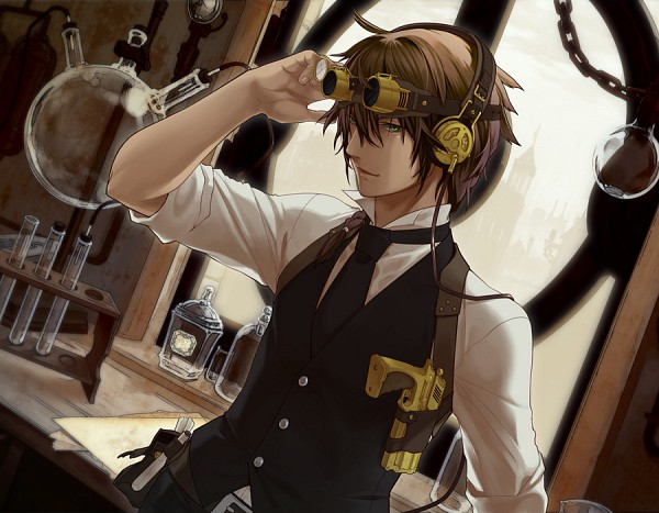 Tags: Anime, Dioptrie, Steampunk, Scientist, Potion, Test Tube, Original, Pixiv