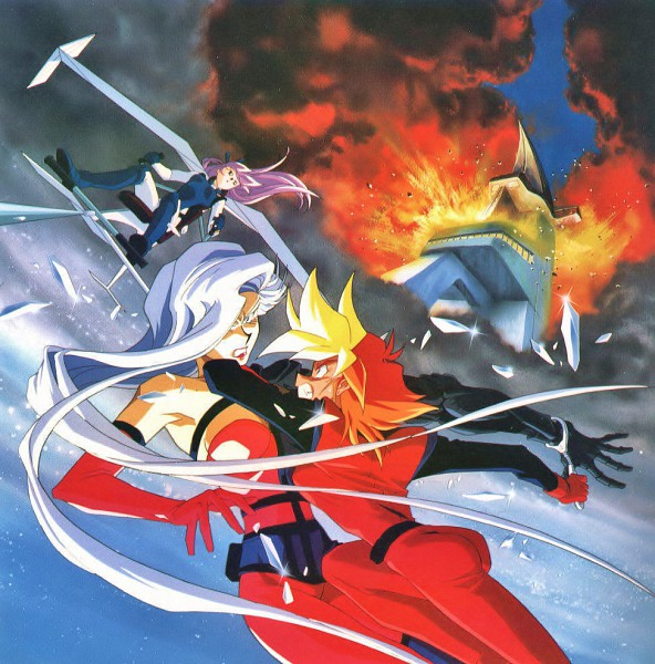 Tags: Anime, Kimura Takahiro, Sunrise (Studio), Dirty Pair Flash, Freya (Dirty Pair Flash), Iris (Dirty Pair Flash), Yuri (Dirty Pair Flash), Kei (Dirty Pair Flash), Explosion, Official Art, Scan