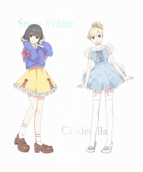 Tags: Anime, Pixiv Id 4147718, Cinderella, Snow White and the Seven Dwarfs (Disney), Snow White (Disney) (Character), Cinderella (Disney), Cinderella (Character), Yellow Skirt, Laced Up, PNG Conversion, Pixiv, Disney, Fanart