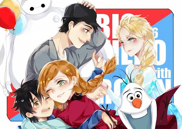 Tags: Anime, Pixiv Id 3017232, Big Hero 6, Frozen (Disney), Elsa the Snow Queen, Baymax, Hiro Hamada, Olaf the Snowman, Tadashi Hamada, Princess Anna of Arendelle, Pixiv, Fanart, Fanart From Pixiv
