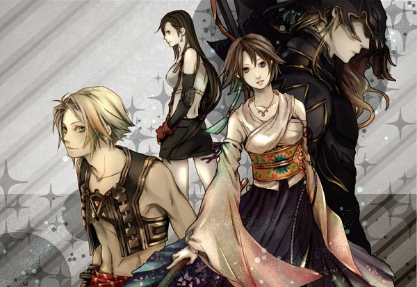 Tags: Anime, Ayajik, Final Fantasy IV, Dissidia, Final Fantasy XII, Final Fantasy X, Final Fantasy VII, Yuna, Kain Highwind, Tifa Lockhart, Vaan, Pixiv
