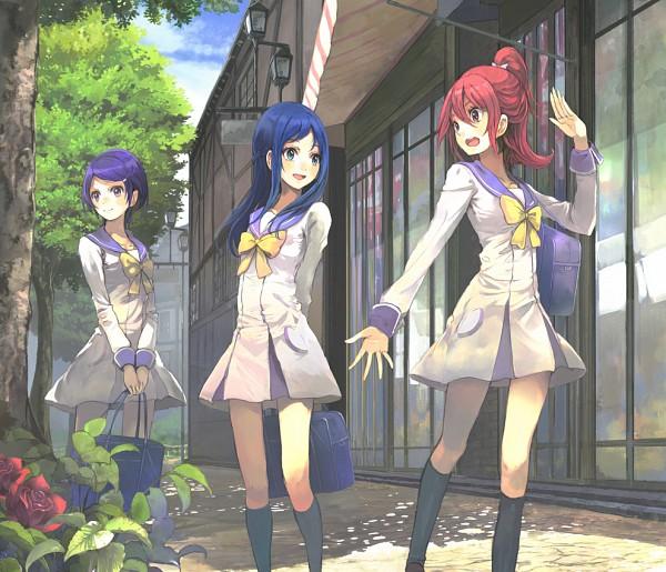 Tags: Anime, Toromi Chuuka, Dokidoki! Precure, Hishikawa Rikka, Kenzaki Makoto, Aida Mana, Light Pole, Pixiv, Fanart, Fanart From Pixiv