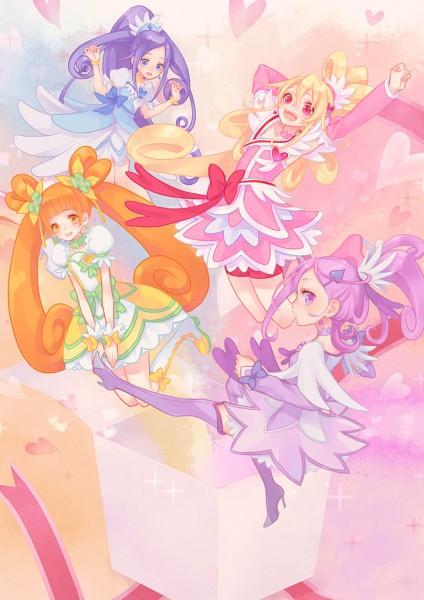 Tags: Anime, Pixiv Id 6028892, Dokidoki! Precure, Cure Rosetta, Hishikawa Rikka, Cure Sword, Kenzaki Makoto, Cure Diamond, Yotsuba Alice, Cure Heart, Aida Mana, Pink Shorts, Spade (Card)