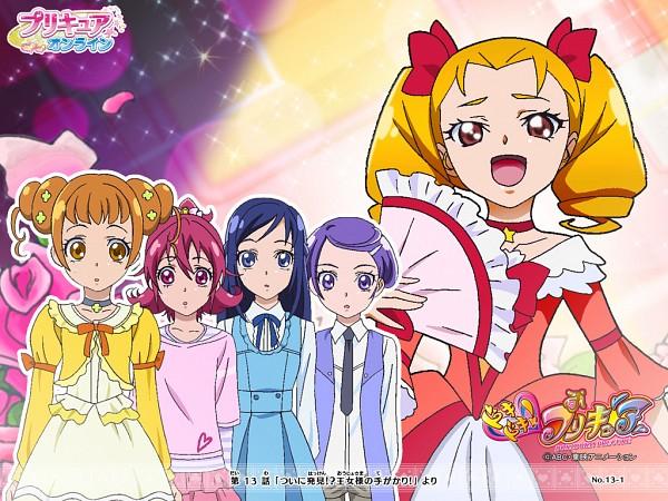 Tags: Anime, Dokidoki! Precure, Itsutsuboshi Reina, Hishikawa Rikka, Kenzaki Makoto, Yotsuba Alice, Aida Mana, Gown, Official Art, Official Wallpaper, Wallpaper
