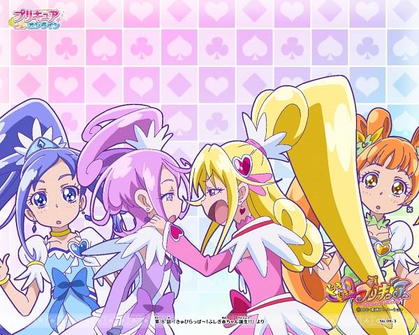 Tags: Anime, Dokidoki! Precure, Cure Diamond, Yotsuba Alice, Cure Heart, Aida Mana, Cure Rosetta, Hishikawa Rikka, Cure Sword, Kenzaki Makoto, Spade (Card), Clubs (Card), Official Wallpaper