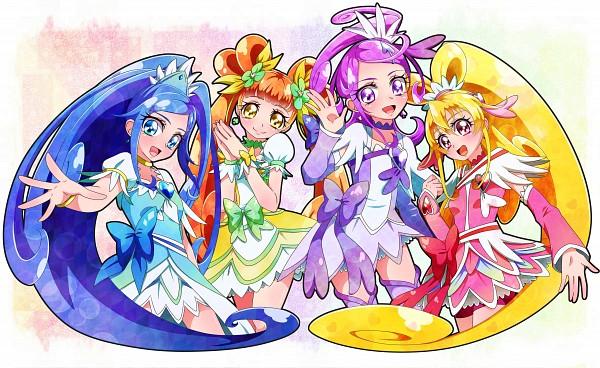 Tags: Anime, Yubiteru, Dokidoki! Precure, Cure Heart, Aida Mana, Cure Rosetta, Hishikawa Rikka, Cure Sword, Kenzaki Makoto, Cure Diamond, Yotsuba Alice, Wallpaper, Fanart