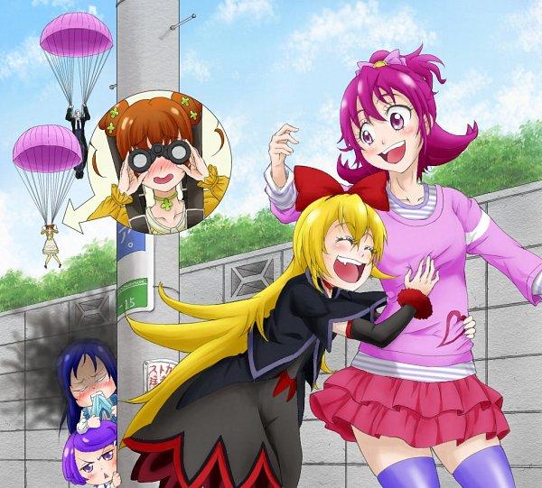 Tags: Anime, Pixiv Id 1596164, Dokidoki! Precure, Kenzaki Makoto, Yotsuba Alice, Regina (Dokidoki), Aida Mana, Sebastian (Dokidoki! Precure), Hishikawa Rikka, Utility Pole, Power Lines, Parachute, Poster (Object)