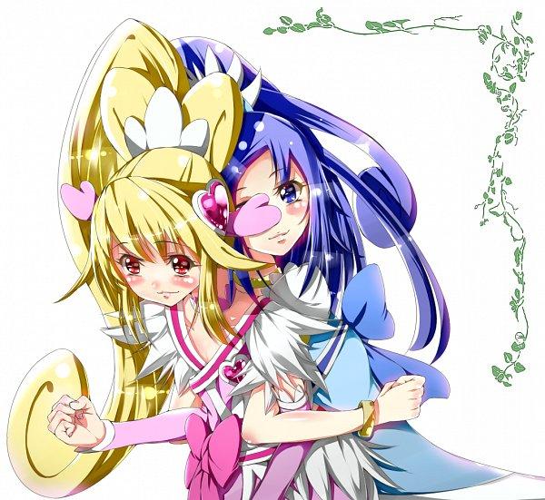 Tags: Anime, Yuutarou (Pixiv822664), Dokidoki! Precure, Hishikawa Rikka, Aida Mana, Cure Diamond, Cure Heart, Pink Armwear, Fanart, Fanart From Pixiv, Pixiv