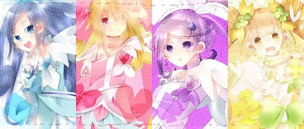 Tags: Anime, Pixiv Id 2107061, Dokidoki! Precure, Yotsuba Alice, Cure Heart, Aida Mana, Cure Rosetta, Hishikawa Rikka, Cure Sword, Kenzaki Makoto, Cure Diamond, Purple Armwear, Pink Armwear