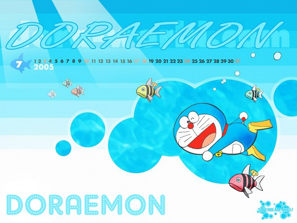 Tags: Anime, Doraemon, Diving, Wallpaper, Calendar (Source), Calendar 2005