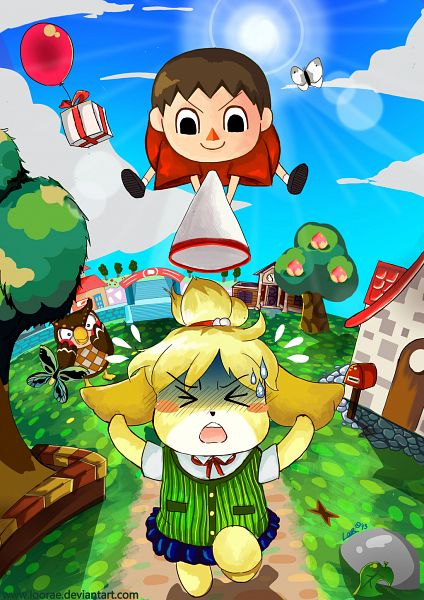 Tags: Anime, Folkloor, Doubutsu no Mori, Fuuta (Doubutsu no Mori), Shizue (Doubutsu no Mori), Villager, >O<, Mailbox, Running Away, Peach (Fruit), Green Vest, Cobblestone, Archway, Animal Crossing