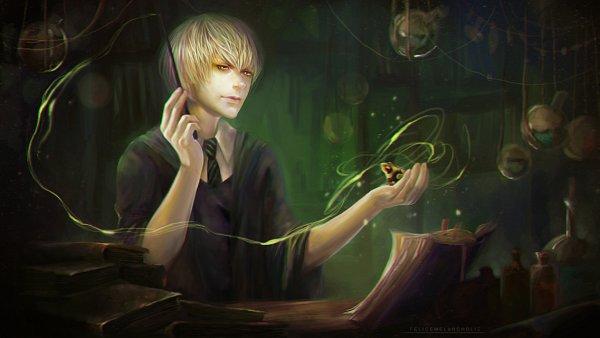Tags: Anime, FeliceMelancholie, Harry Potter, Draco Malfoy, deviantART, Facebook Cover, Slytherin House
