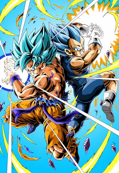 Tags: Anime, Pixiv Id 46703904, DRAGON BALL, DRAGON BALL SUPER, Dragon Ball Super: Broly, Son Goku (DRAGON BALL), Vegeta, Scene Reference, Gritted Teeth, Pixiv, Super Saiyan Blue, Super Saiyan, Super Saiyan God