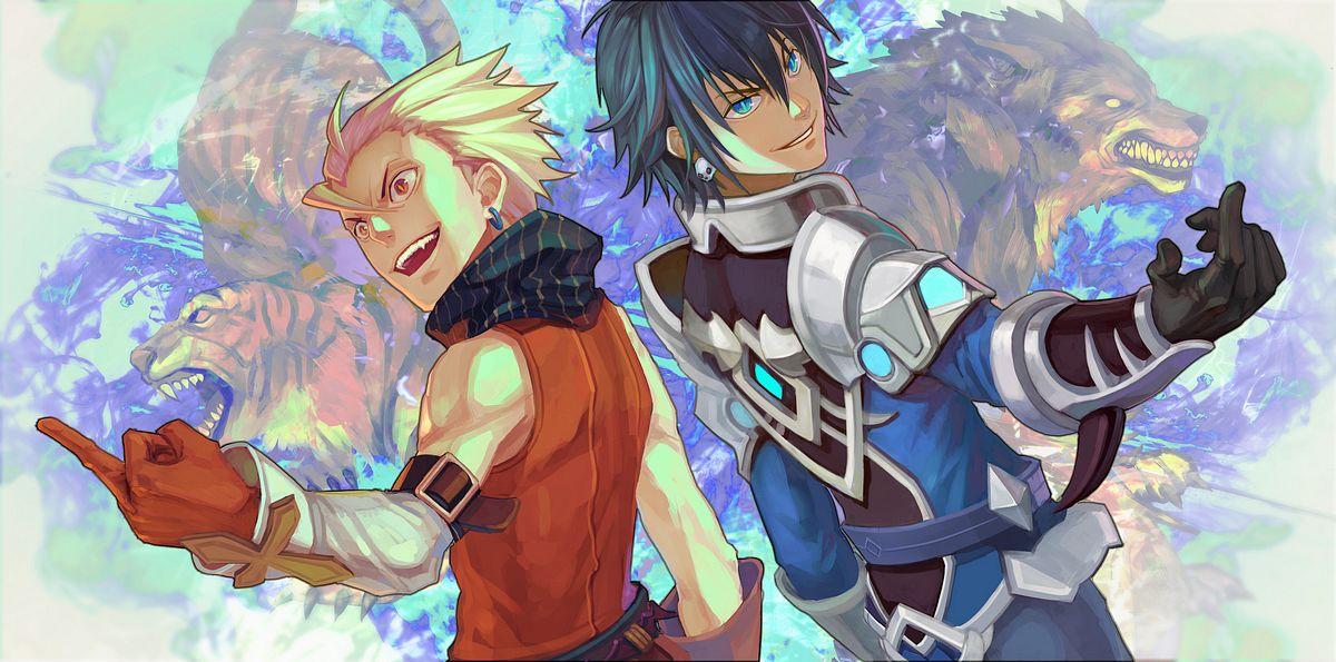 Tags: Anime, Pixiv Id 1134488, Dragon Nest, Cleric (Dragon Nest), Warrior (Dragon Nest), Fanart, Facebook Cover, Pixiv