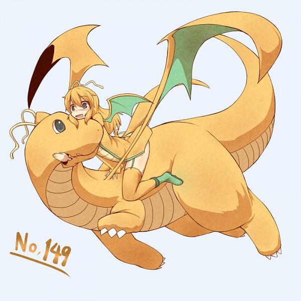 Tags: Anime, Kuromiya, Pokémon, Dragonite, Hugging Animal, Green Footwear, Orange Legwear, Dragon Riding, Dragon Wings, Pixiv, Fanart, Fanart From Pixiv