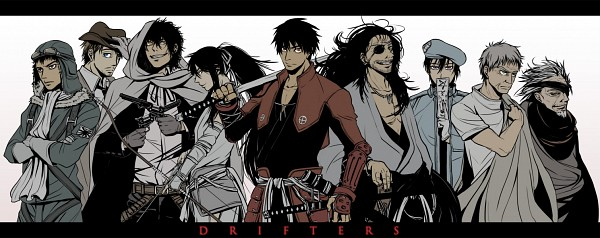 Tags: Anime, Pixiv Id 1992123, Drifters (Manga), Naoshi Kanno, Oda Nobunaga (Drifters), Sundance Kid, Nasu no Yoichi (Drifters), Butch Cassidy, Abe no Seimei (Drifters), Stubble, Aviator Hat, Facebook Cover