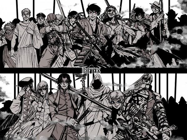 Tags: Anime, Pixiv Id 456810, Drifters (Manga), Tamon Yamaguchi, Sundance Kid, Shimazu Toyohisa, Publius Cornelius Scipio Africanus, Butch Cassidy, Black King (Drifters), Nasu no Yoichi (Drifters), Grigori Rasputin, Abe no Seimei (Drifters), Hijikata Toshizo (Drifters)