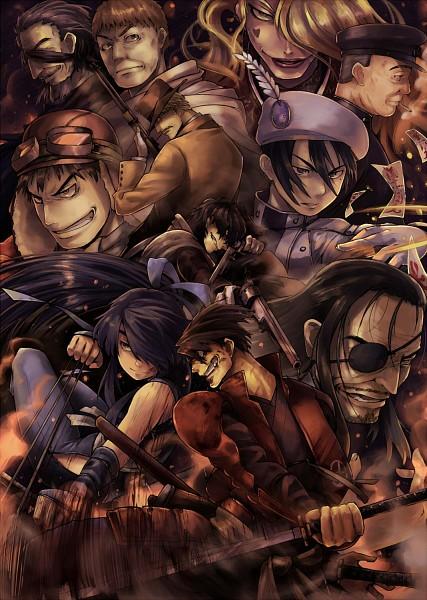 Tags: Anime, Pixiv Id 4502396, Drifters (Manga), Butch Cassidy, Nasu no Yoichi (Drifters), Abe no Seimei (Drifters), Oda Nobunaga (Drifters), Sundance Kid, Shimazu Toyohisa, Stubble, Aviator Hat, Pixiv, Fanart