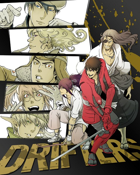 Tags: Anime, Pixiv Id 3086763, Drifters (Manga), Shimazu Toyohisa, Olmine, Nasu no Yoichi (Drifters), Abe no Seimei (Drifters), Naoshi Kanno, Oda Nobunaga (Drifters), Count Saint-Germi, Stubble, Aviator Hat, Fanart From Pixiv
