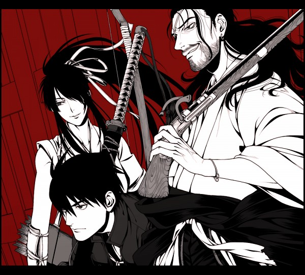 Tags: Anime, Komo (Sleepy), Drifters (Manga), Oda Nobunaga (Drifters), Shimazu Toyohisa, Nasu no Yoichi (Drifters), Stubble, Fanart, Fanart From Pixiv, Pixiv