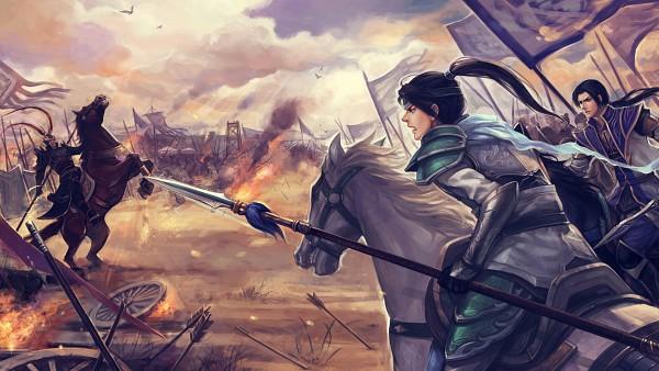 Tags: Anime, Pixiv Id 2846860, Dynasty Warriors, Cao Pi, Zhao Yun, Army, Horseback Riding, War, Pixiv, Wallpaper, HD Wallpaper, Fanart