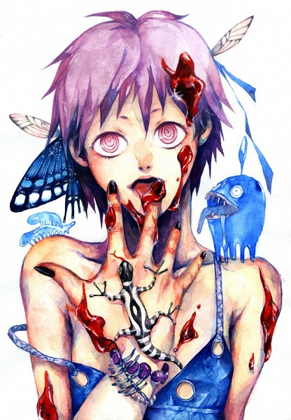 Tags: Anime, Pixiv Id 242707, Dorohedoro, Ebisu (Dorohedoro), Lizard, Watercolor, Traditional Media