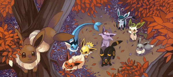 Tags: Anime, Amarisu, Pokémon, Leafeon, Flareon, Umbreon, Espeon, Eevee, Vaporeon, Glaceon, Jolteon, Fanart From Pixiv, Pixiv