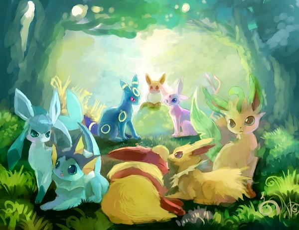 Tags: Anime, Pixiv Id 4521895, Pokémon, Espeon, Eevee, Vaporeon, Glaceon, Jolteon, Leafeon, Flareon, Umbreon, Eeveelution